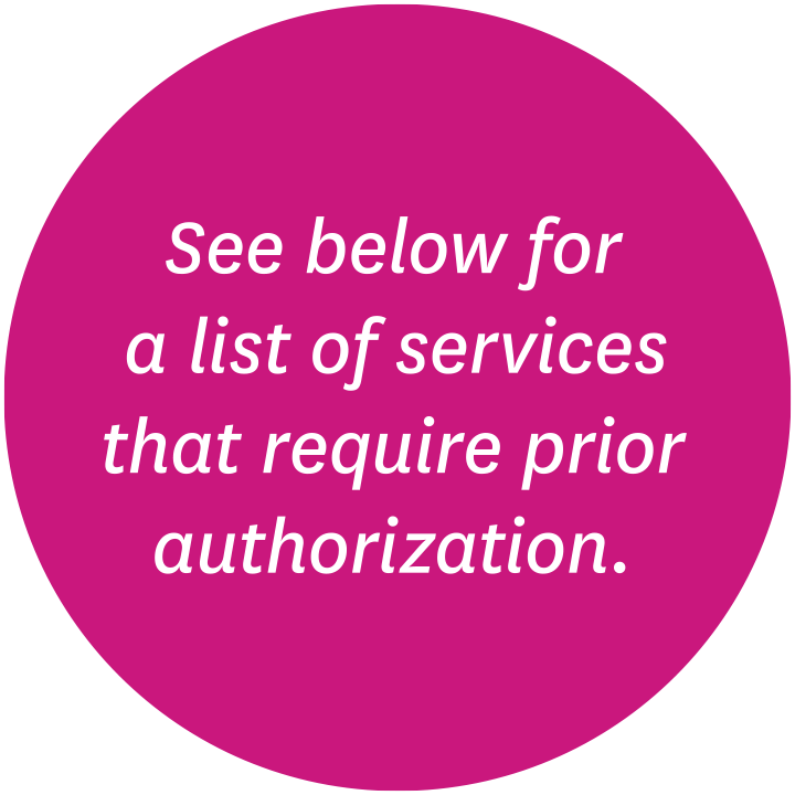 See below for a list of services that require prior authorization.